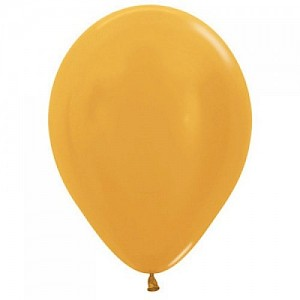 Metallic Gold 30cm Latex Balloon & Helium