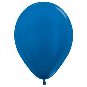 Metallic Royal Blue 30cm Latex Balloon & Helium