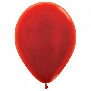 Metallic Red 30cm Latex Balloon & Helium