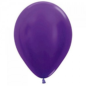 Metallic Violet 30cm Latex Balloon & Helium