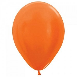 Metallic Orange 30cm Latex Balloon & Helium