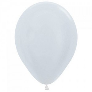 Satin White 30cm Latex Balloon, Helium & Hi Float