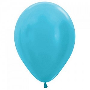 Satin Caribbean  Blue 30cm Latex Balloon, Helium & Hi Float