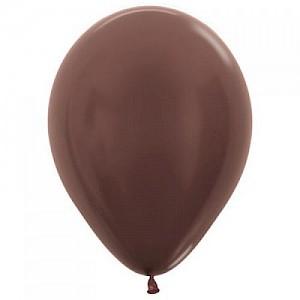 Metallic Chocolate 30cm Latex Balloon, Helium & Hi Float