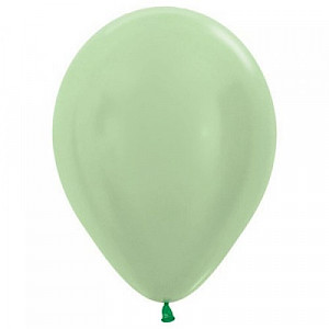Satin Light Green 30cm Latex Balloon, Helium & Hi Float