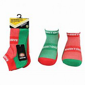 South Sydney Rabbitohs 2PK Ankle Socks - Size 7-11