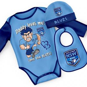 NSW Blues 3pc Bodysuit Gift Set - Size 00